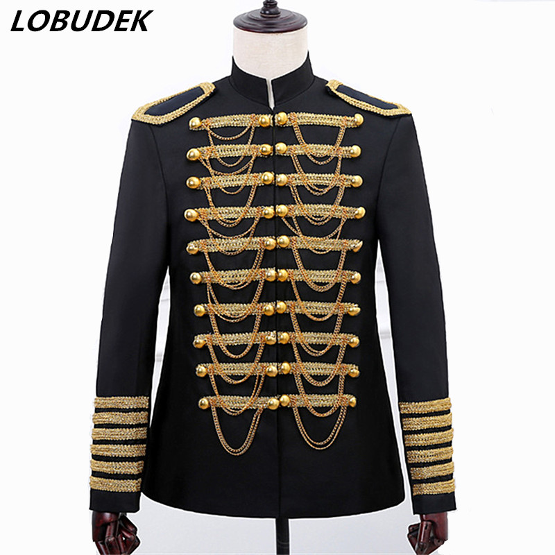 Black Red Chains Men's Court Jacket Coat Costume Military Style Fashion Slim Double breasted Blazers Bar Singer Host Stage Wears