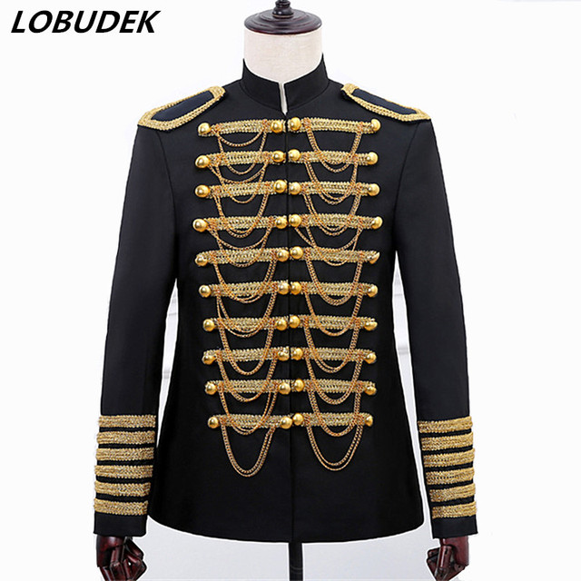 Black Red Chains Men's Court Jacket Coat Costume Military Style Fashion Slim Double-breasted Blazers Bar Singer Host Stage Wears