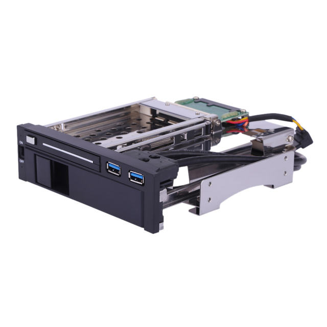 2018 Dual Bay 3.5+2.5 Inch SATA III Hard Drive HDD & SSD Tray Caddy Internal Mobile Rack Enclosure with USB 3.0 Port Hot Swap