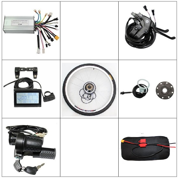 EU DUTY FREE Ebike Front Rear Wheel Conversion Kit 36V 48V 350W Brushless Gearless Motor LCD Controller Brake Lever Throttle PAS 24v350w brushless electric scooter hub motor wheel kit with 8inch front wheel tire controller e brake lcd throttle for ebike