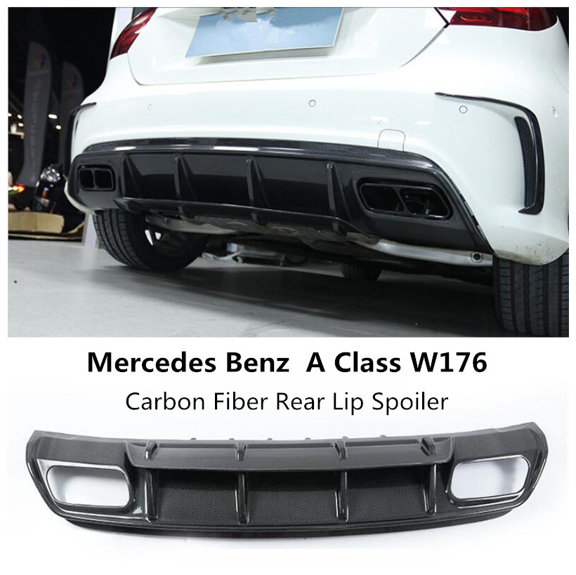 Carbon Fiber Rear Bumper Lip Spoiler For <font><b>Mercedes</b></font> <font><b>Benz</b></font> A Class <font><b>W176</b></font> A45 A180 <font><b>A200</b></font> A260 2013 2014 2015 2016 2017 2018 2019 image