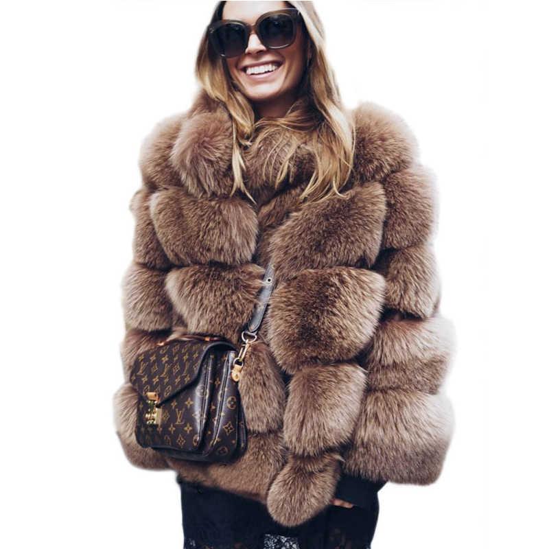 2019 зимнее плотное теплое пальто из искусственного меха, стоячий воротник, Женская куртка с длинным рукавом из искусственного меха, роскошное зимнее меховое пальто черного цвета LJLS118