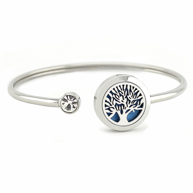 Stainless Steel Cuff Bracelet with Aromatherapy Diffuser
