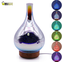 Creative 100ml 3D Led Color Night Light Humidifier Glass Wood Grain Vase Shape Ultrasonic Essential Oil Diffuser For Home Office