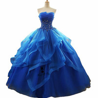 Vestidos de 15 anos Plus Size Blue Quinceanera Dresses 2018 Sweet 16 Ball Gowns Ballkleid Organza Lace Crystals Masquerade Dress