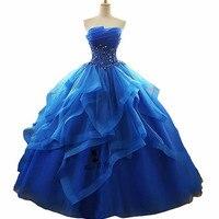 Vestidos de 15 anos Plus Size Blue Quinceanera Dresses 2018 Sweet 16 Ball Gowns Ballkleid Organza Lace Crystals Masquerade Dress