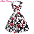 Poque belle das mulheres vestidos de verão do vintage 50 s audrey hepburn elegante floral vestidos plus size robe sexy pin up rockabilly dress