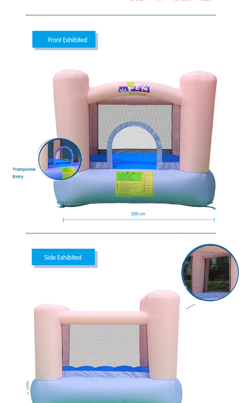HTB1UxZjPXXXXXXiaXXXq6xXFXXXx - Mr. Fun Kids Pink Inflatable Bouncer Home Trampoline with Blower