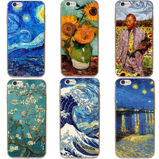 detailed look 12a9e 6f2a3 US $1.21 39% OFF|The Great Wave off Kanagawa Van Gogh Starry Night Phone  Case for iPhone 5 5S SE 6 6s Plus 7 7Plus 8 8Plus X 10 Hard PC Cover-in  Phone ...