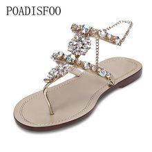 8ef5a358377555 Bohemian Women Sandals Crystal Flat Heel Sandalias Rhinestone Chain Women  Shoes Thong Flip Flops Plus size 35~47.SL-yxb1625