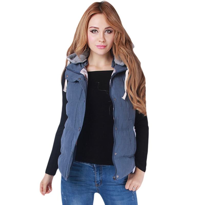 Plus Size 4XL Women Waistcoat Hooded Vest Coats Brand Female Winter Thicken Vest With Hat Warm Outerwear Zipper Red Black Blue