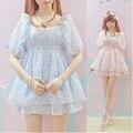 Alta calidad rosa de una sola pieza vestido de verano niñas hermana suave lolita dulce del punto del cordón de una sola pieza vestidos dobby moda lindo de kawaii OP