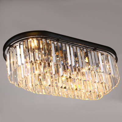 Stadium oval RH American retro vintage hanging chain pendant light lamp LED dinning room crystal glass ceiling pendant lamp LED - 6