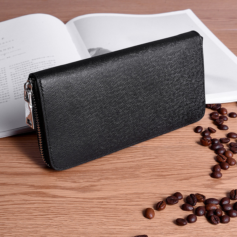 Genuine Leather Men Wallet Luxury Brand Wallets Long Zipper Wallets Business Male Clutch Coin Purse Card Holder Wallet Black