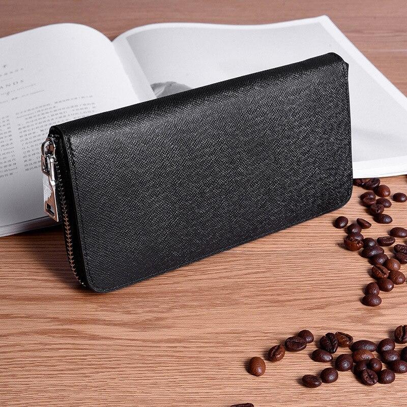 Hombres de cuero genuino Cartera de lujo marca carteras larga cremallera carteras de negocios embrague monedero titular de la cartera negro