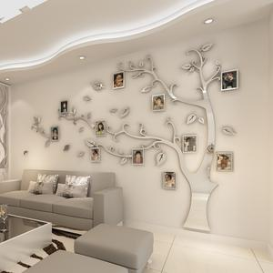 Mirror Sticker Poster Photo-Frame Wall-Decal Tv Background Tree Bedroom Living-Room Home-Decoration