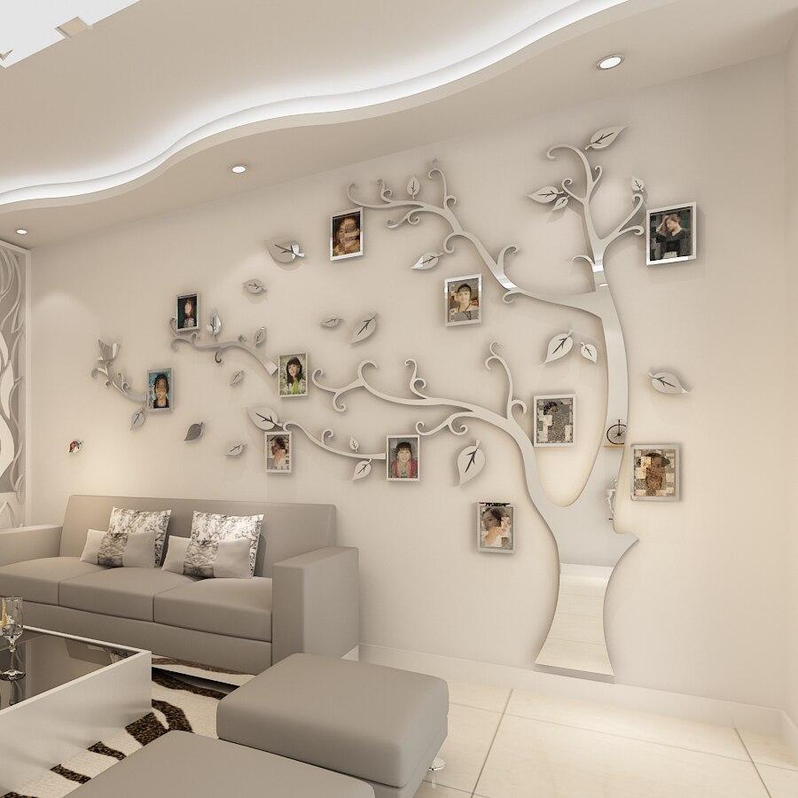 Duvar çıkartmaları ağacı fotoğraf çerçevesi Sticker DIY ayna duvar çıkartması ev dekorasyon oturma odası yatak odası posteri tv arka plan duvar dekoru