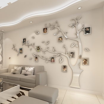 цена на Wall Stickers Tree Photo Frame Sticker DIY Mirror Wall Decal Home Decoration Living Room Bedroom Poster TV Background Wall Decor