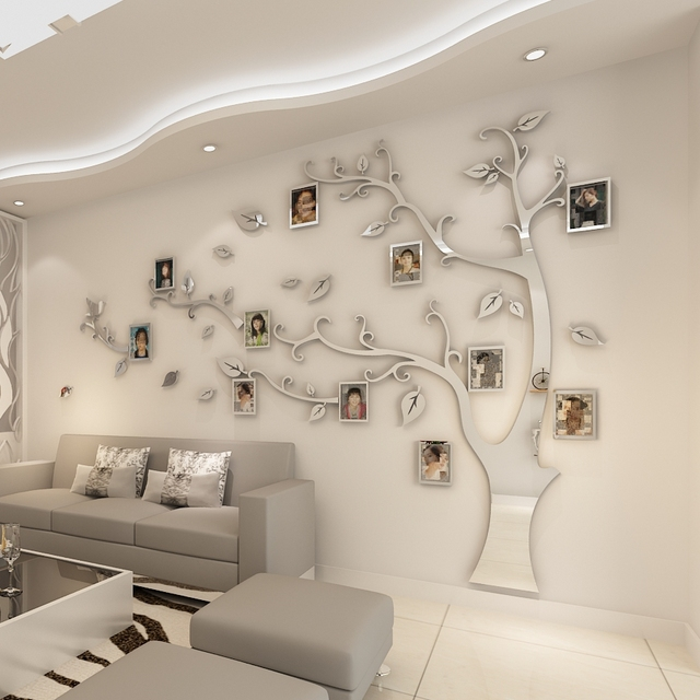 Wall Stickers Tree Photo Frame Sticker DIY Mirror Wall Decal Home Decoration Living Room Bedroom Poster TV Background Wall Decor