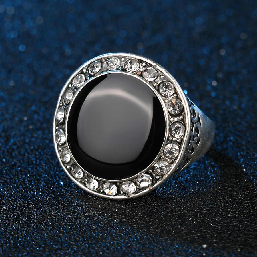 Kinelหรูหราสีดำเคลือบแหวนแต่งงานสำหรับผู้หญิงสีขาวออสเตรียคริสตัลสีเงินR Etroเครื่องประดับขายส่งจำนวนมากผสม