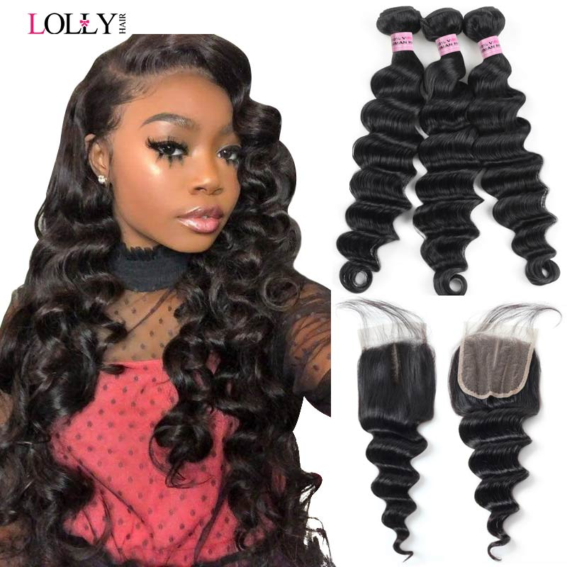 Loose Deep Wave Bundles with Closure Brazilian Hair Weave Bundles with Closure Lolly Human Hair Bundles