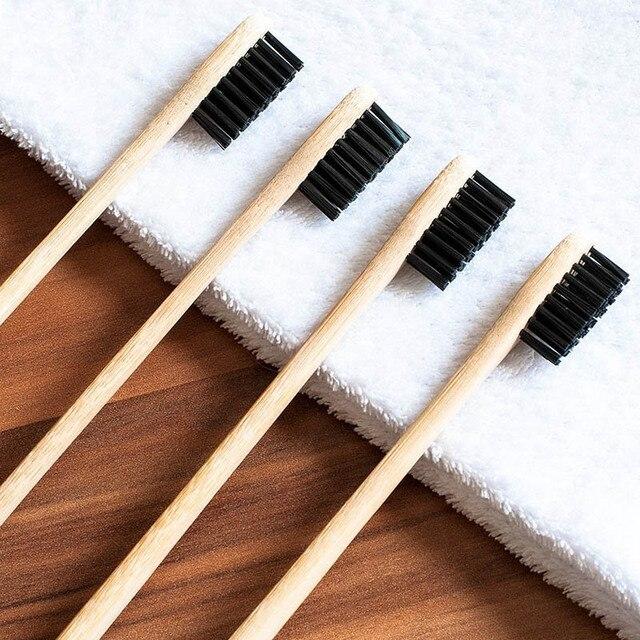 4 cepillo de dientes de bambú unids/set con cerdas de carbón cuidado Dental Natural para el hogar viaje familiar HS11