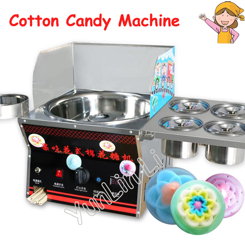 Commercial DIY Cotton Candy Machine Gas Cotton Sugar Fancy Floss Maker Machine Snack Equipment Flower цена