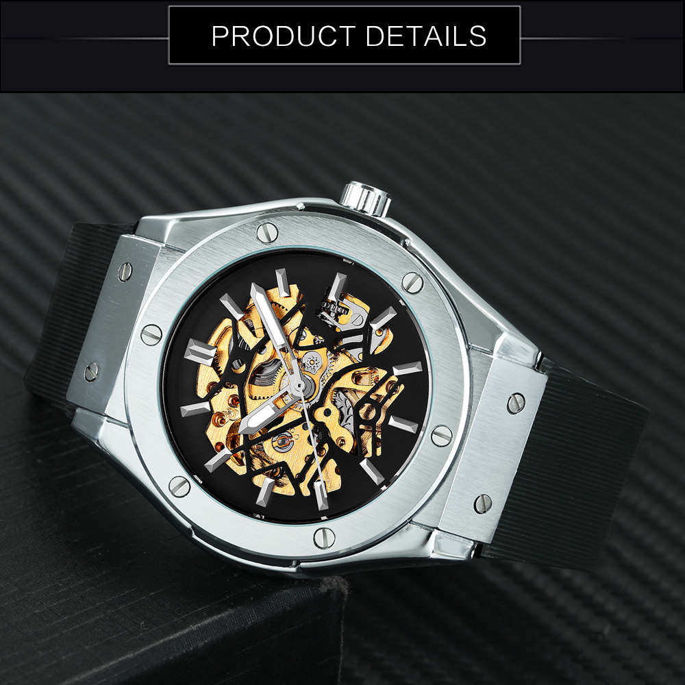 2973027100f Aliexpress.com   Buy WINNER Men Sport Fashion Mechanical Wristwatch Rubber  Strap Skeleton Dial Automatic Movement Military Wristwatch Christmas Gift  from ...