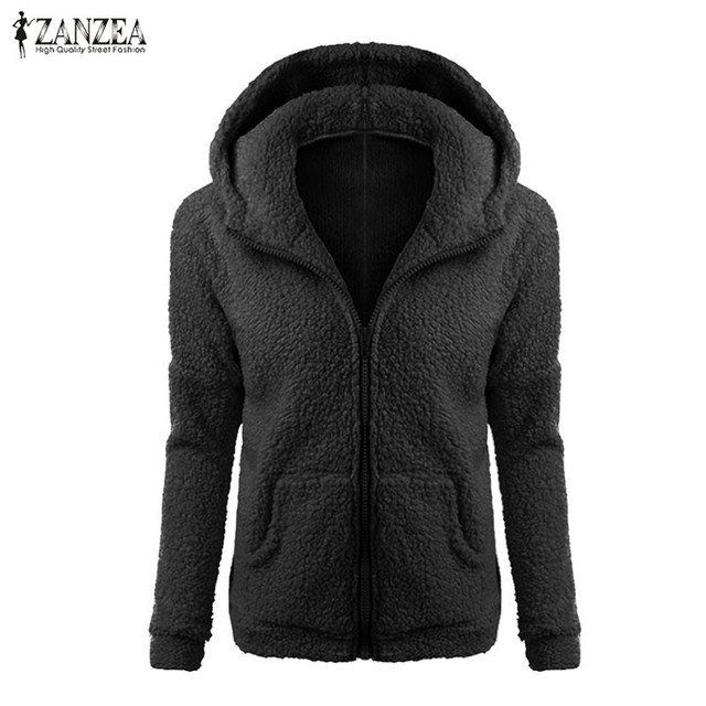 ZANZEA Women Coat 2016 Winter Warm Hooded Jackets Ladies Casual Outerwear Zippers Long Sleeve Fashion Coats Plus Size