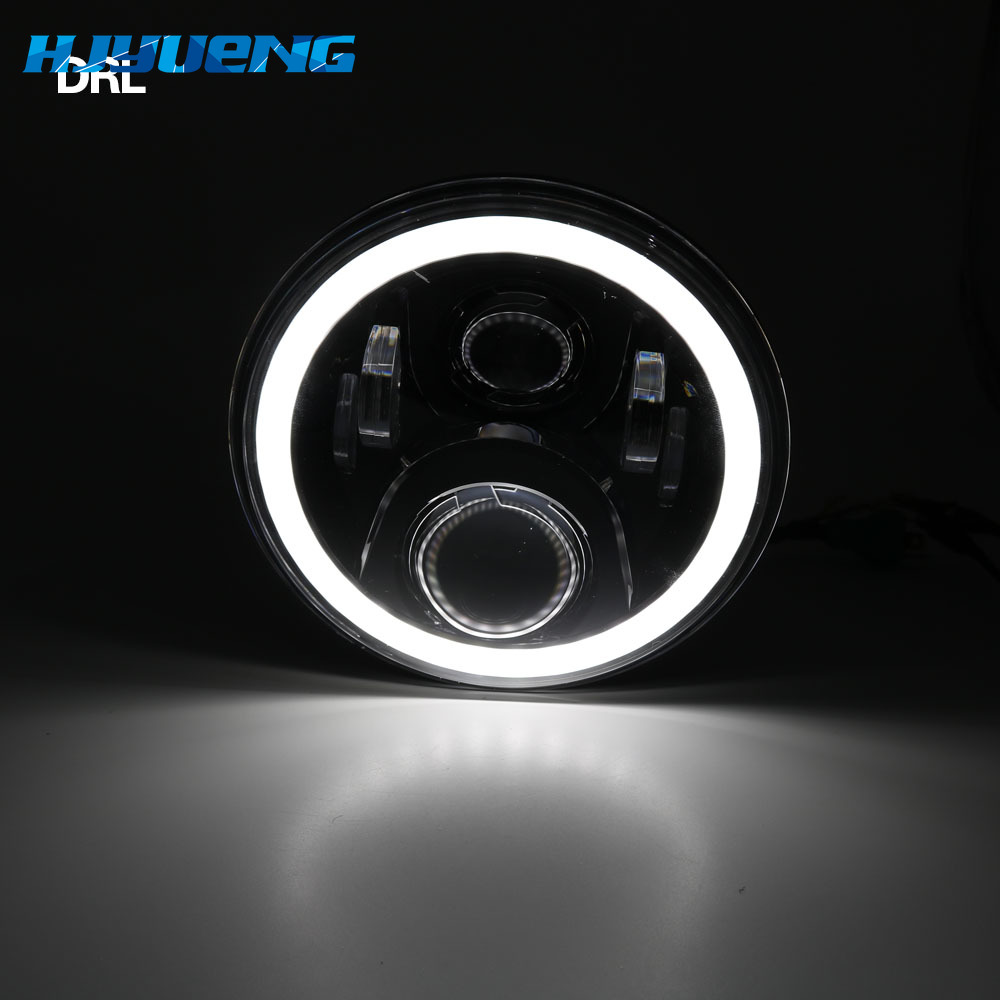 """Image 2 - 7Inch LED Headlamps with Halo Ring Amber Turn Signal For lada niva 4x4 suzuki samurai 7"""" LED DRL Halo Headlights For VAZ 2101-in Car Light Assembly from Automobiles & Motorcycles"""