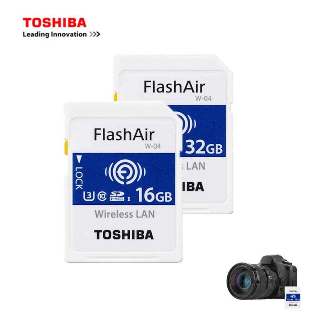TOSHIBA WiFi SD Carte 32 GB 16 GB 64 GB SDHC SDXC Classe 10 U3 FlashAir W-04 Flash Sans Fil LAN SD Carte Mémoire Pour appareil photo numérique