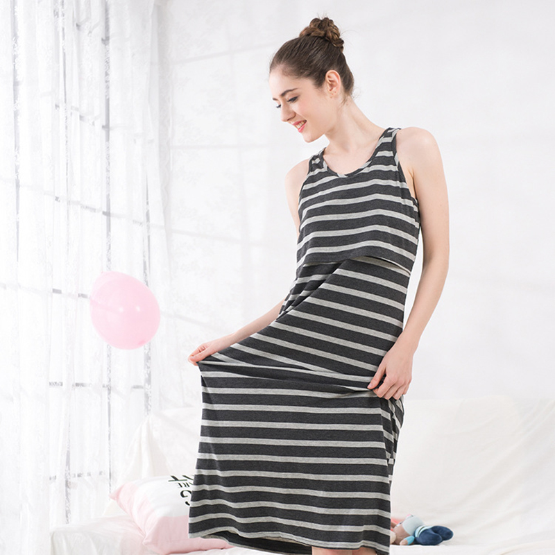 2018 spring and summer pregnant women fashion korean version breastfeeding dresses o neck casual nursing dress striped vestido
