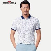 Seven7 Brand High Quality Men Polo Shirts Summer Short Sleeve Flower Print Polo Shirt Fashion Slim Men Casual Polos 110T50420