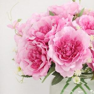 Image 2 - สวยงามขนาดเล็ก rose bouquet ดอกไม้ประดิษฐ์ผ้าไหมสำหรับตกแต่งบ้าน mariage babyshower flores artificiales