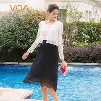VOA Шелковый линия платья Для женщин трикотажные Осень с длинным рукавом Роскошные основные офисные женские миди платье элегантные вечерние