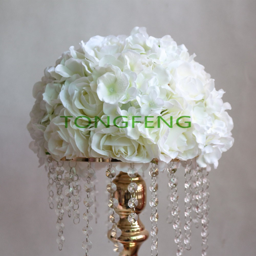 Ev ve Bahçe'ten Yapay ve Kurutulmuş Çiçekler'de Düğün yol kurşun yapay gül Ortanca çiçek topu düğün masa centerpiece çiçek topu 30 cm Fildişi 10 adet/grup TONGFENG'da  Grup 1