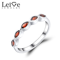 Leige Jewelry Wedding Band Natural garnet Ring Stackable Rings Marquise Cut Gemstone Sterling Silver 925 Fine Jewelry