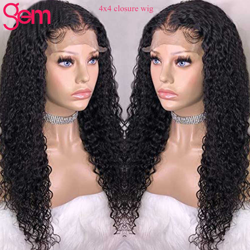 4x4 Closure Wig Curly Human Hair Wig Pre plucked Natural Hair For Black Women Peruvian Remy GEM Hair Lace Closure Wig