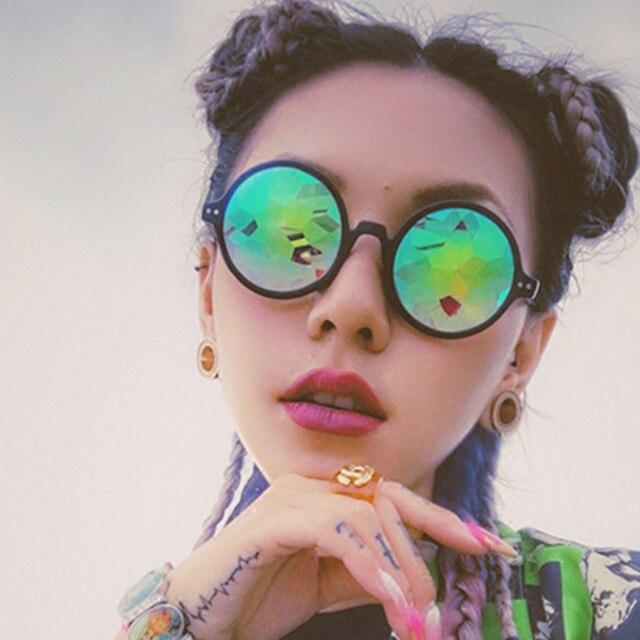 d912c60663cc0 Caleidoscópio rodada Mulheres Óculos rave festival Óculos De Sol Dos Homens  Da Marca Designer Feminino Masculino