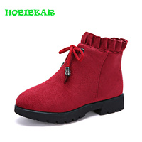 2019 Hot Sale Children Zipper Boots Inside Fur Winter Boots for Kids Flat Casual Shoes for Girls Red Black Children Girl Boots