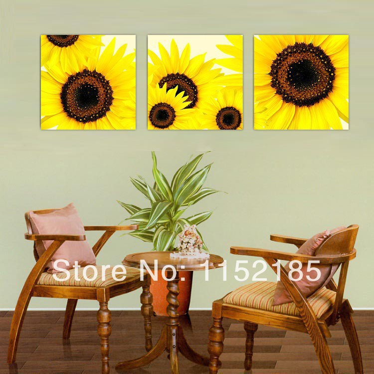 ①Free Shipping 3 Piece Set Framless Modern Sunflower Wall Art Oil ...
