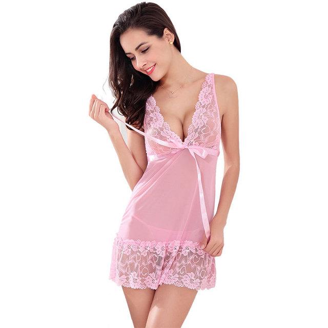 Hot 2016 Nouveau Femmes Sexy De Nuit 5 Couleurs Plus La Taille S ~ XXL Dentelle Chemise De Nuit Robe G-String Sexy Lingerie Robe Sexy AP280
