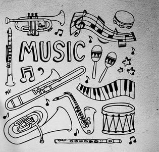 MUZYKA Instrumenty muzyczne Bęben Muzyka Arkusz Vinyl Kalkomania Ścienna Mural Art Naklejka Ścienna Muzyka Pokój Sypialnia Zdejmowane Home Decoration