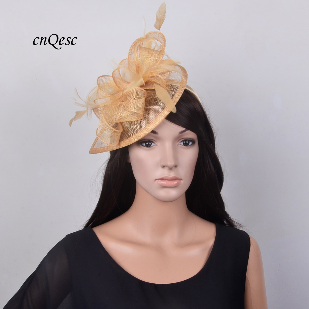 0d5b630a51836 2019 NEW High quality Champagne gold HOT Sinamay Fascinator Hat Royal  Wedding hat for Kentucky Derby
