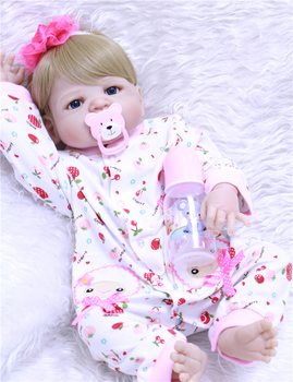 """23"""" Full Silicone Reborn Girl Baby Doll Toy Lifelike handmade baby model infant dolls baby Child play house bonecas for sale"""