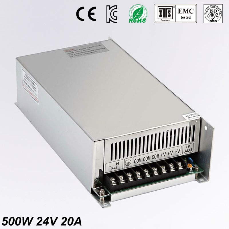 Universal 24V 20A 500W Regulated Switching Power Supply Transformer100-240V AC to DC For LED Strip Light Lighting CNC CCTV MOTOR