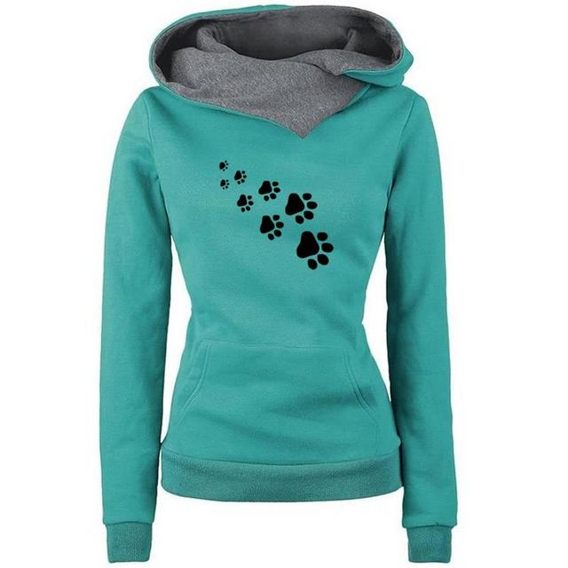 New Fashion Cat Dog Paw Print Sweatshirts Hoodies Women Tops Pockets Cotton Female Cropped Street Thick Winter Or Sping 3