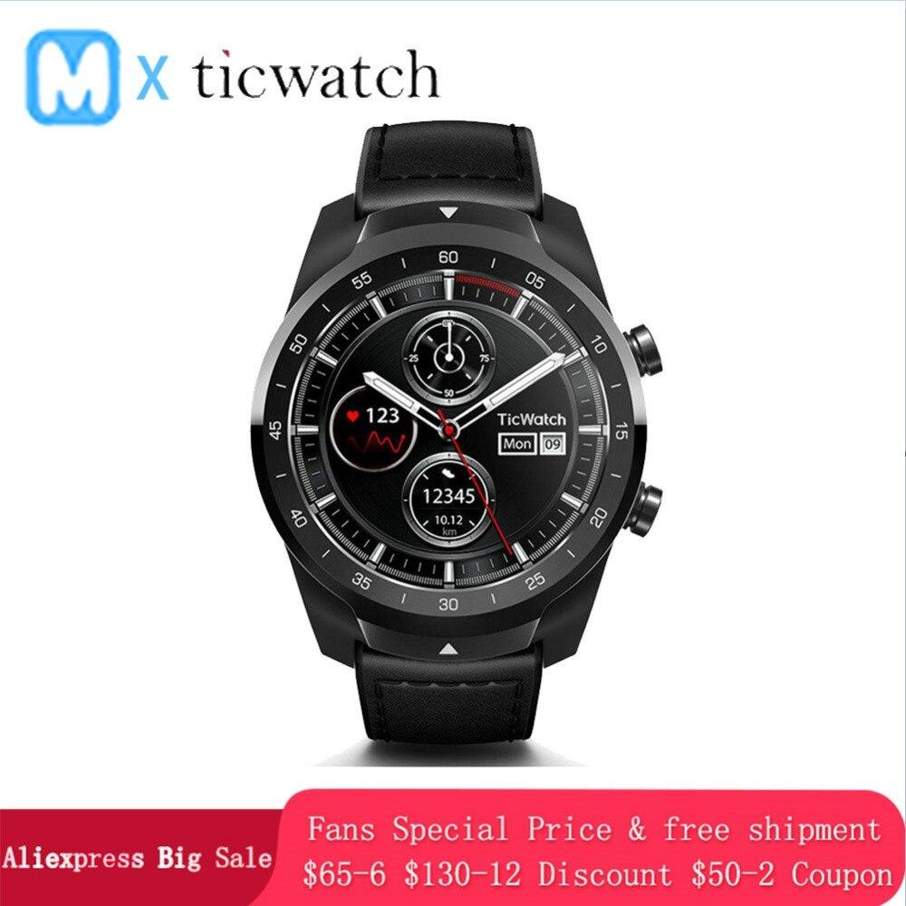 Ticwatch Pro Bluetooth montre connectée IP68 Couches support D'affichage Paiements NFC/Google Assistant Porter OS par Google 415 mAH montre pour homme