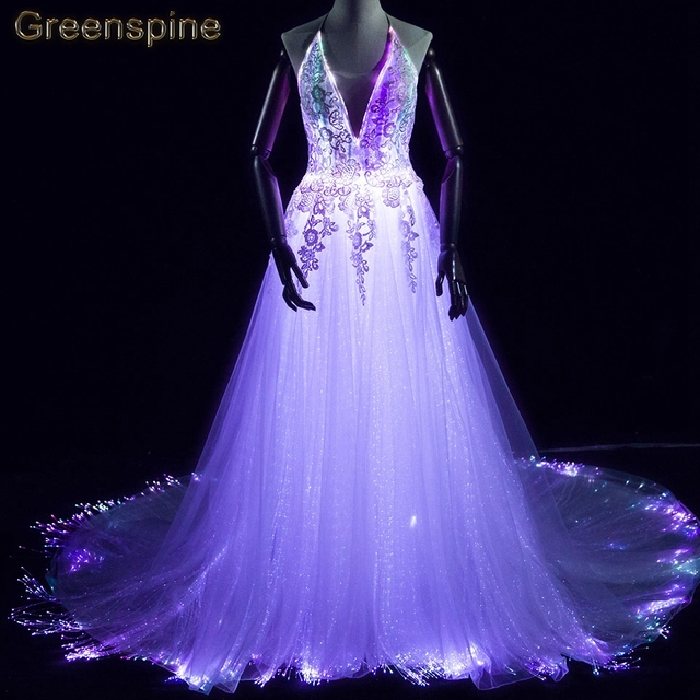 led fiber optic wedding gown luminous wedding dresses vestido de