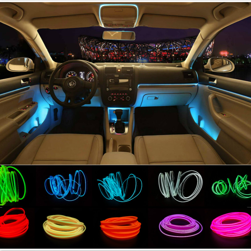 car styling 3meters interior refit light clamping edge el flexible neon car decorate with. Black Bedroom Furniture Sets. Home Design Ideas